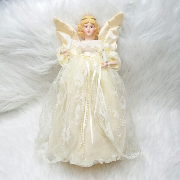 Vintage Angel Christmas Tree Topper Lighted Lace